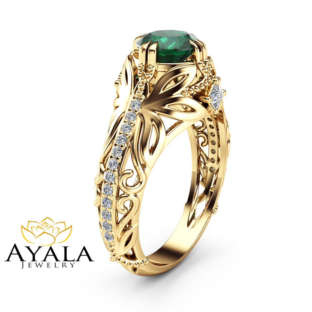 diamonds ring with bg studded evergreen emeralds emerald jewellery