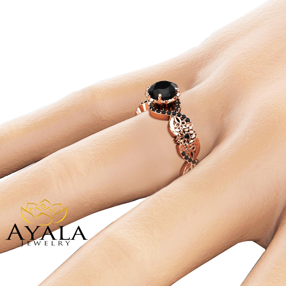 Black Diamond Halo Engagement Ring 14K Rose Gold Ring Unique Petal Ring