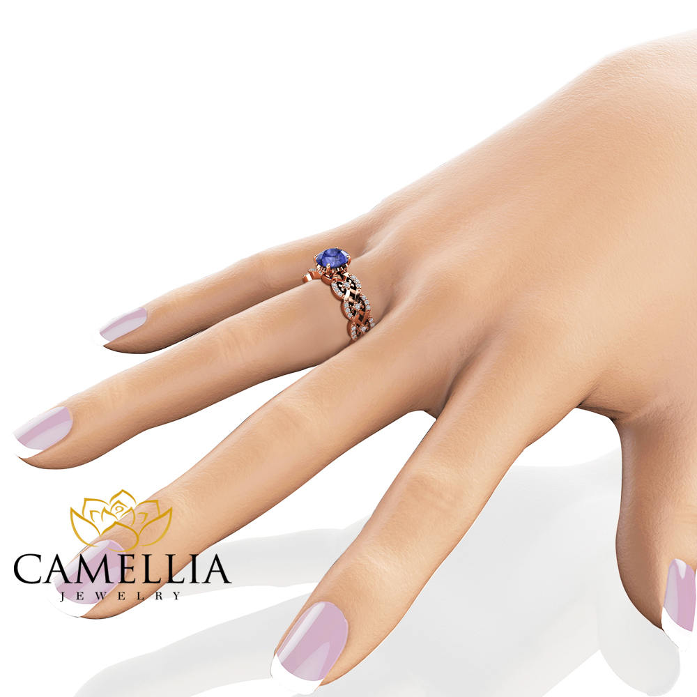Tanzanite Vintage Engagement Ring 14K Rose Gold Engagement Ring Natural Tanzanite Vintage Ring