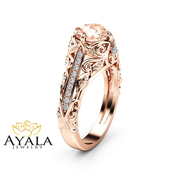Morganite Art Nouveau Engagement Ring 14k Rose Gold Floral