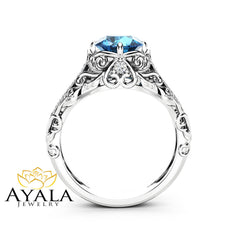 Topaz Engagement Ring 14K White Gold Ring Topaz Ring Filigree Ring Modern Ring