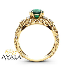 Round Emerald Engagement Ring 14K Yellow Gold Victorian Ring Unique Emerald Engagement Ring Gift for Her