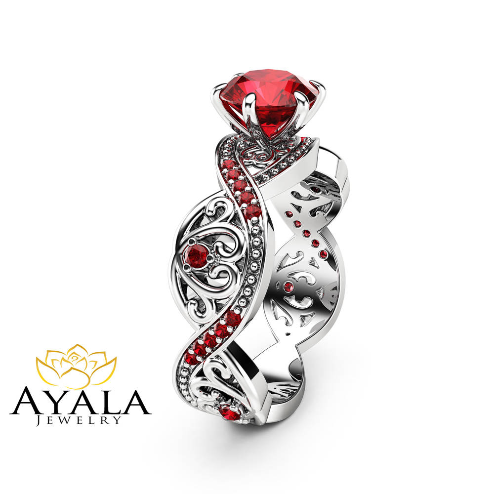 Swirled Ruby Engagement Ring White Gold Unique Filigree Ring
