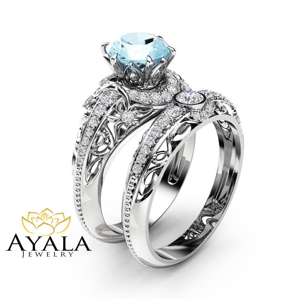 Aquamarine Engagement Ring Set 14K White Gold Diamonds Rings Aquamarine Ring  And Matching Diamond Wedding Band