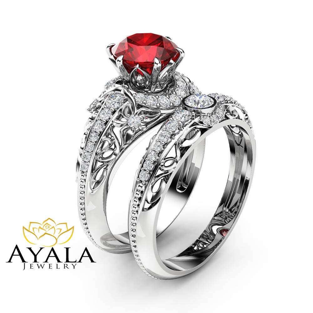 Ruby Engagement Ring Set 14K White Gold Diamonds Rings And Matching Diamond Wedding Band