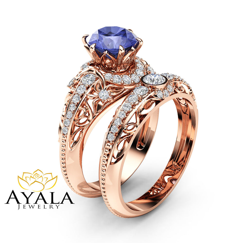 tanzanite engagement ring set 14k rose gold diamonds rings. Black Bedroom Furniture Sets. Home Design Ideas