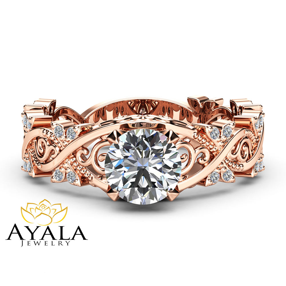 Filigree Moissanite Engagement Ring 14K Rose Gold Diamonds Ring Unique Victorian Ring