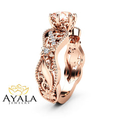 Milgrain Morganite Engagement Ring 14K Rose Gold Diamonds Ring Unique Filigree Ring