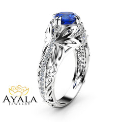 Sapphire Art Nouveau Engagement Ring 14K White Gold Filigree Ring Sapphire Ring with Square Diamonds