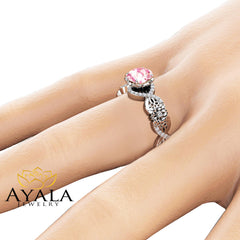 Pink Moissanite Halo Engagement Ring 14K White Gold Moissanite Ring Filigree Engagement Ring