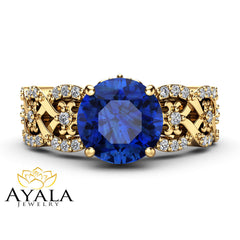 Blue Sapphire Vintage Engagement Ring 14K Yellow Gold Engagement Ring Natural Sapphire Vintage Ring