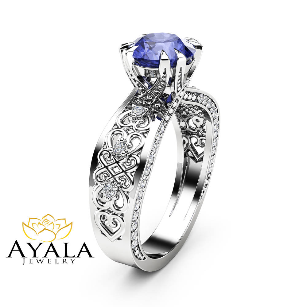 artworks blue tanzanite white engagement fine rings gold ring trencheff pear cut shop halo deep
