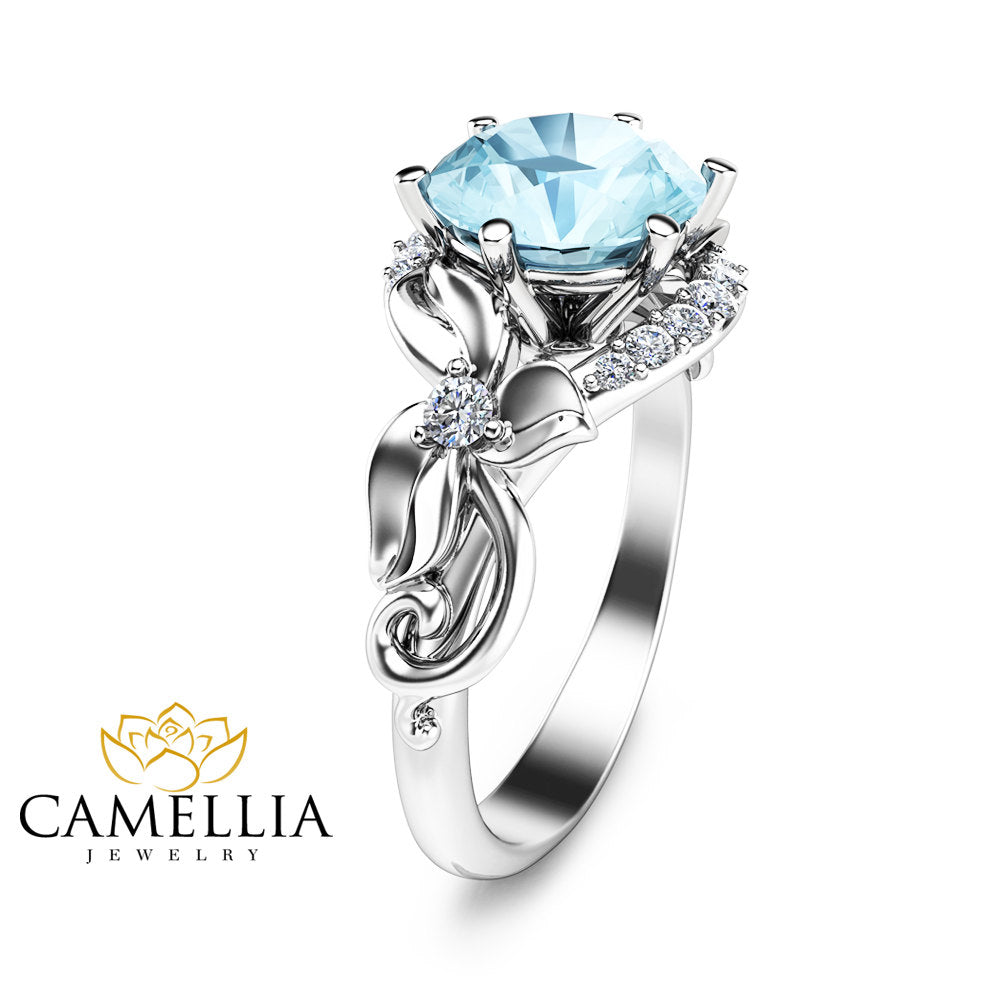 ring rings aquamarine diamonds engagement with gold aqua white in