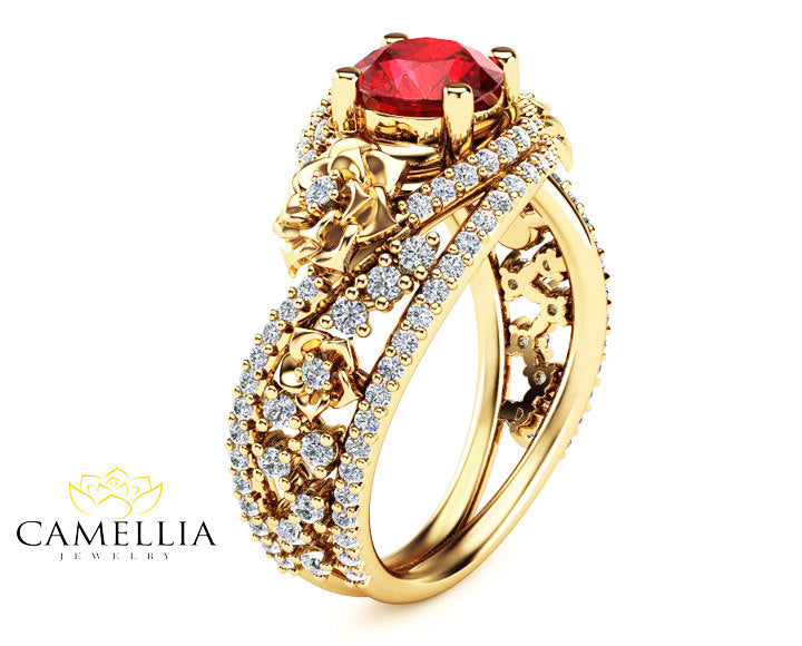 Natural Ruby 18K Yellow Gold Ring Floral Design Engagement Ring