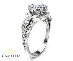 Floral 2ct Moissanite Engagement Ring 14K White Gold Engagement Ring Vintage Styled Moissanite Ring