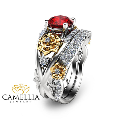 Floral Ruby Engagement Ring Set 14K Two Tone Gold Rings Natural Ruby Wedding Ring Set Unique Engagement Rings