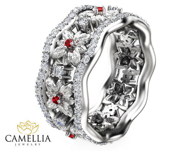 Ruby And Diamond Promise Ring Floral Wide Diamond Band 60th