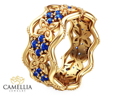 14K Yellow Gold Blue Sapphire Ring, Butterfly Ring, Unique Anniversary Ring.