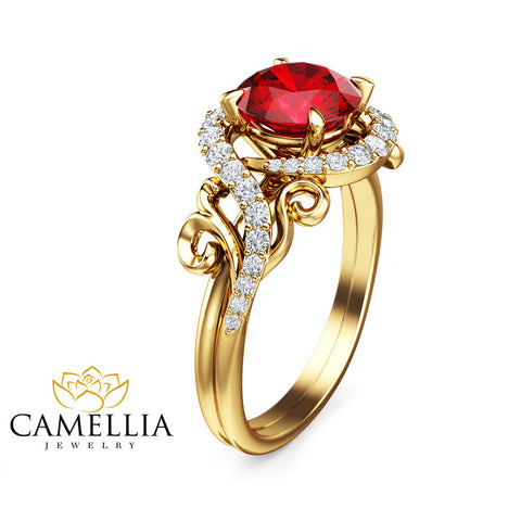 14K Yellow Gold Ruby Ring Unique Engagement Ring Ruby Engagement Ring