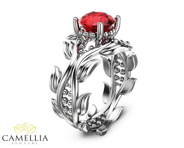 Leaf Ring 14k White Gold Ruby Ring Ruby Engagement Ring Ruby Ring