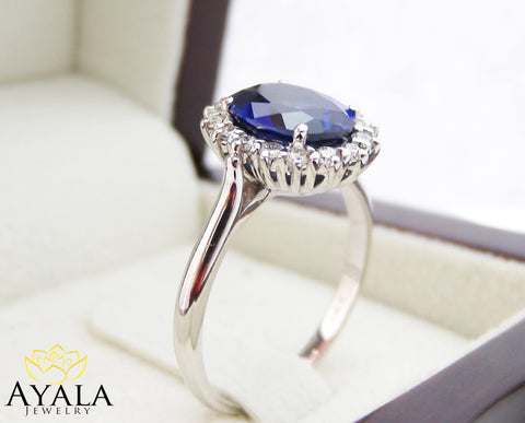 Diana Ring-14K White Gold Blue Sapphire Engagement Ring Blue Sapphire Ring Princess Diana Ring