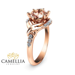14K Rose Gold Engagement Ring Rose Gold Morganite Ring Oval Morganite Engagement Ring Unique Engagement Ring