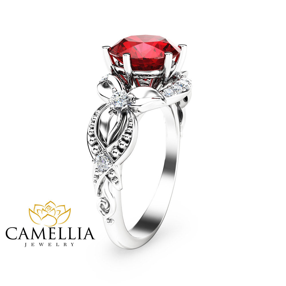 Ruby Ring-14K White Gold Engagement Ring-White Gold Ruby Ring