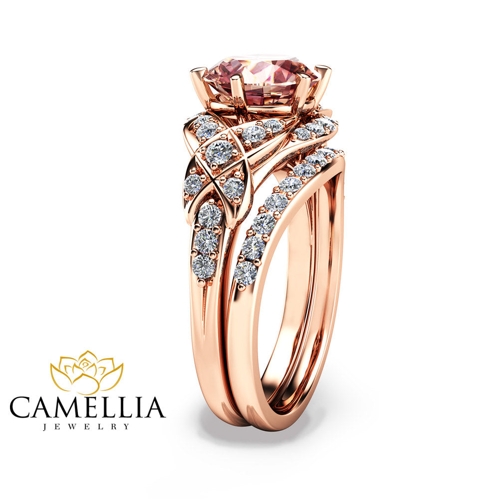 14k rose gold engagement ring rose gold morganite wedding rings set peach pink morganite engagement ring - Rose Gold Wedding Ring Set