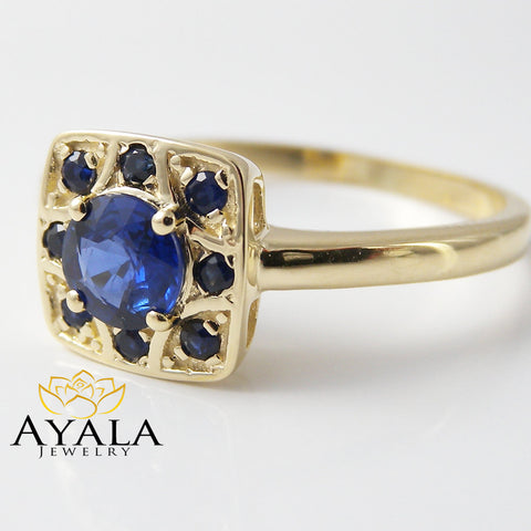 14K Yellow Gold Sapphire Engagement Ring Natural Blue Sapphire Ring Genuine Sapphire Ring