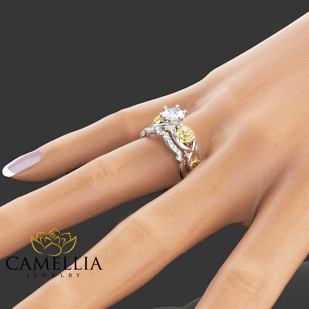 Floral Moissanite Engagement Ring Set 14K Two Tone Gold Flower Rings Unique Moissanite Engagement Rings