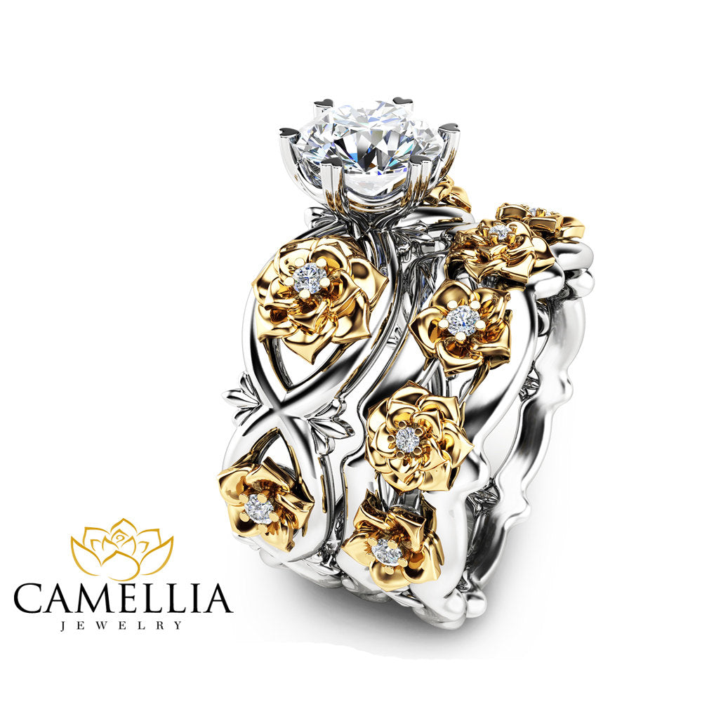 diamond engagement gold ring unique rings pin camellia catbird