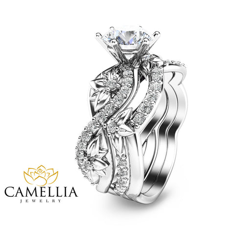 14K White Gold Moissanite Rings Moissanite Engagement Ring Set Floral Engagement Ring with Matching Band