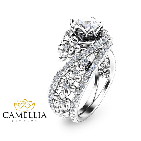 Charles and Colvard Promise Ring Moissanite Engagement Ring in White Gold Unique Floral Ring Camellia Jewelry