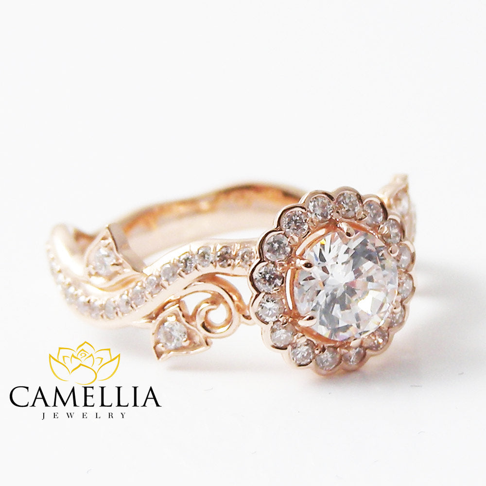 White Sapphire Engagement Rings Rose Gold Diamond Proposal Ring ...