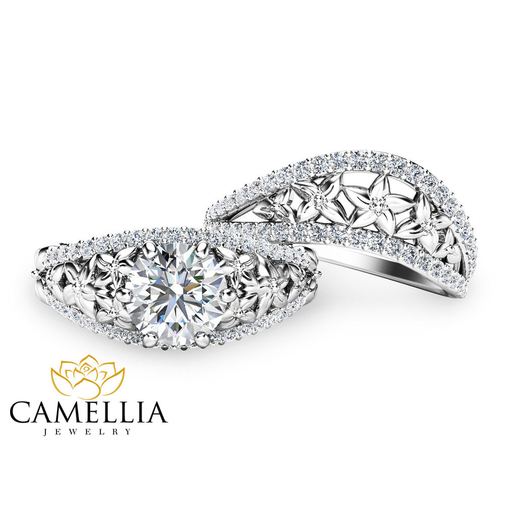 Moissanite Engagement Rings Charles and Colvard Floral Ring Set 14K White Gold Engagement Rings Camellia Jewelry