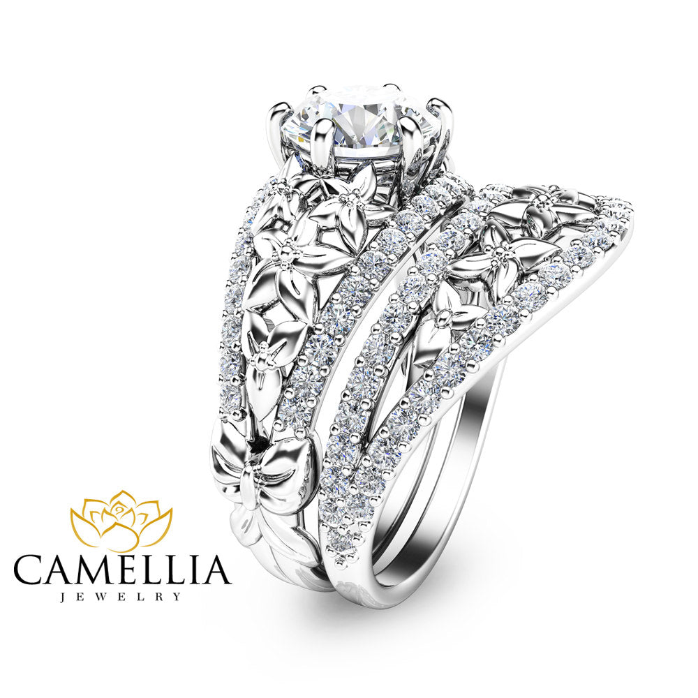 two tone gold media diamond rings and engagement solid band ring camellia