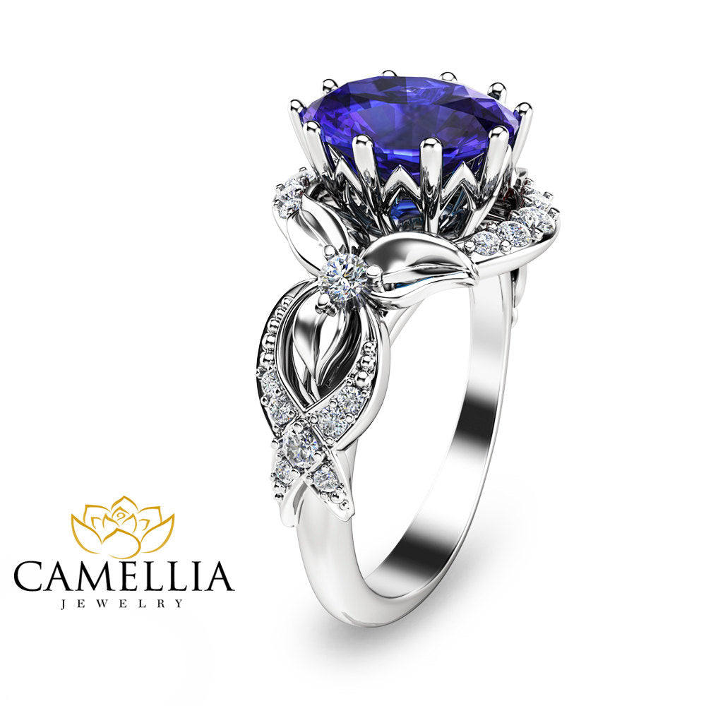 rings amp image precious diamond cluster tanzanite engagement emerald gold ring jewellery white cut