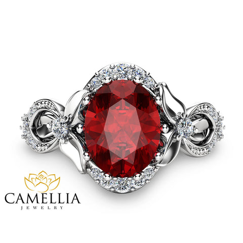 Ruby Engagement Ring Oval Cut Ruby Ring White Gold Engagement Ring