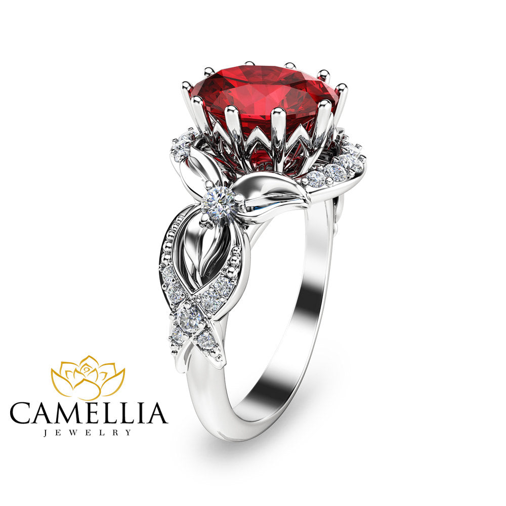 in three tone diamond camellia ring stone engagement two set natural flower gold rings media