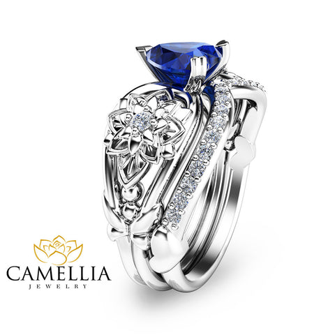 Blue Sapphire Engagement Ring Set Heart Shaped Sapphire Engagement Ring 14K White Gold Rings