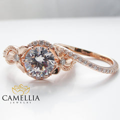 Unique Moissanite Engagement Ring Set 14K Rose Gold Engagement Rings Vintage Floral Moissanite Rings