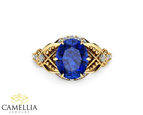 Art Deco  Sapphire Engagement Ring Blue Sapphire Engagenment Ring 14K Yellow Gold Ring