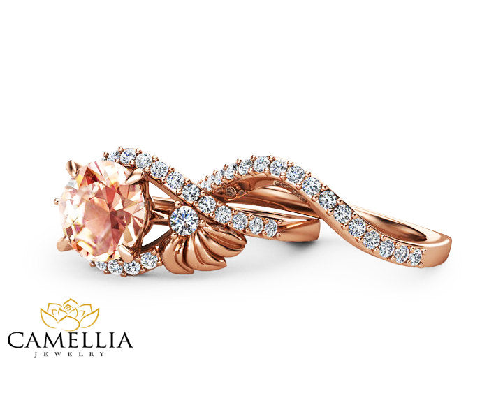 14K Rose Gold Morganite Engagement Bridal Set Art Deco Morganite Anniversary Ring