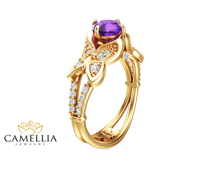gold engagement kirk rings shaped amethyst in products marquise ring purple grande kara up diamond dahlia white