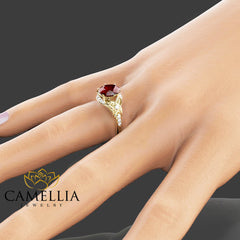 Unique Ruby Engagement Ring 14K Yellow Gold Ruby Ring Alternative Engagement Ring