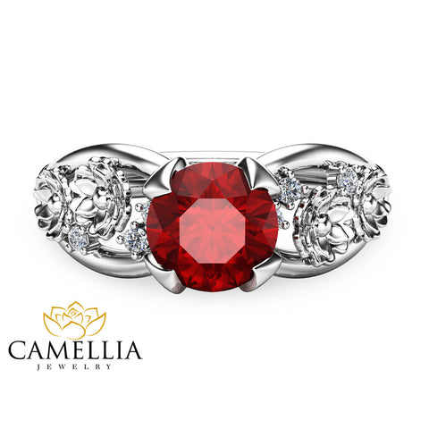 Natural Ruby Floral Engagement Ring 14K White Gold Floral Ring Ruby Engagement Ring July Birthstone