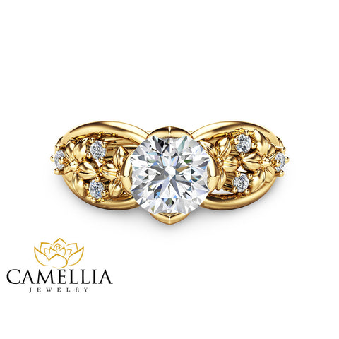 Moissanite Floral Engagement Ring 14K Yellow Gold Floral Ring Moissanite Engagement Ring