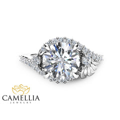 Unique Flower Engagement Ring 2Ct Moissanite Engagement Ring 14K White Gold Flower Ring