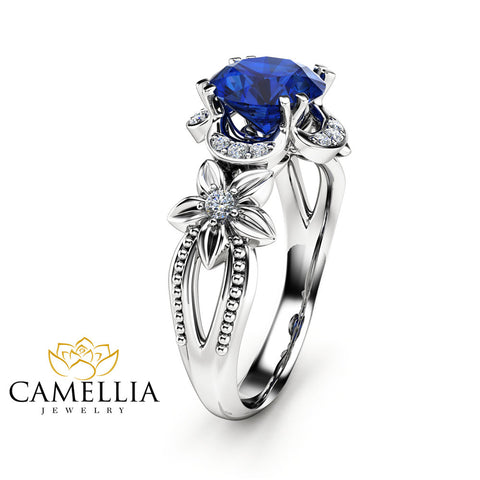14K White Gold Sapphire Engagement Ring  Royal Blue Sapphire Ring Unique Art Deco Engagement Ring