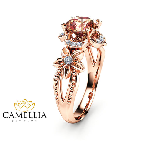 14K Rose Gold Morganite Engagement Ring Peach Pink  Morganite Ring Unique Art Deco Engagement Ring